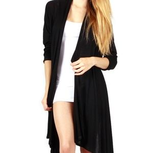 NEW Black Long Sleeve Hi-Lo Cardigan Sweater OSFM